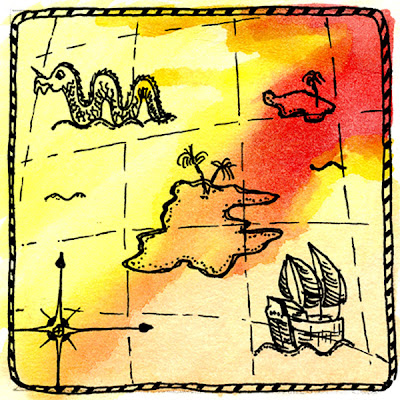 Illustration of old fashioned nautical map