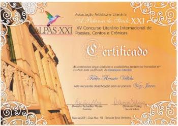 Poesias VOZ e JARRO, homenageadas com Menção Honrosa no XV Concurso Internacional de Literatura.