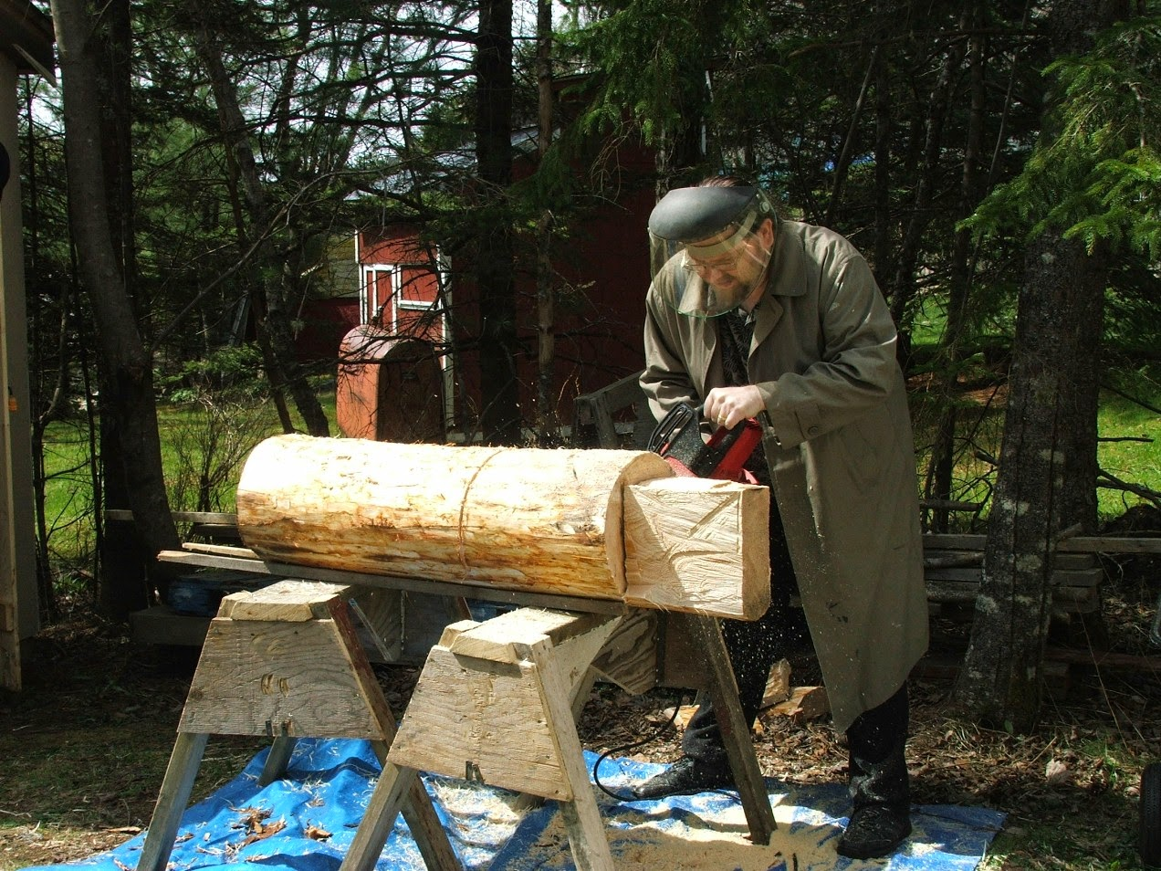 Yes, There I Am In April, 2012 Beginning Work On The Log That Was To Become  A Larger Than Normal Whirligig That Would Be Shown At The Beaverbrook.
