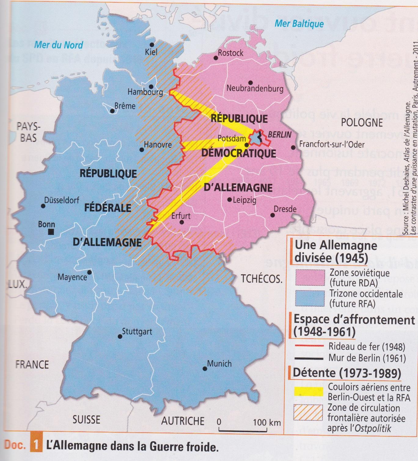 Carte Allemagne Rda Rfa