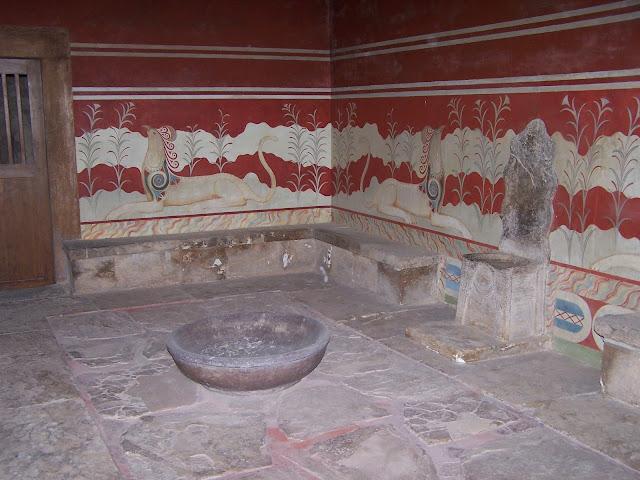 Taht Odası; taht ve griffon freski; Knossos Sarayı