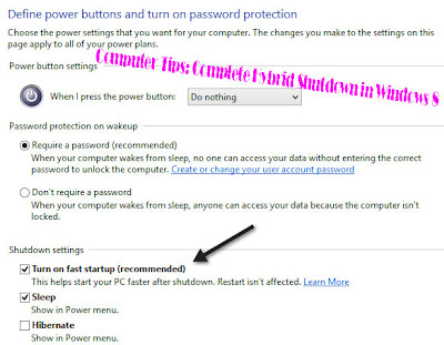 Computer Tips: Complete Hybrid Shutdown in Windows 8