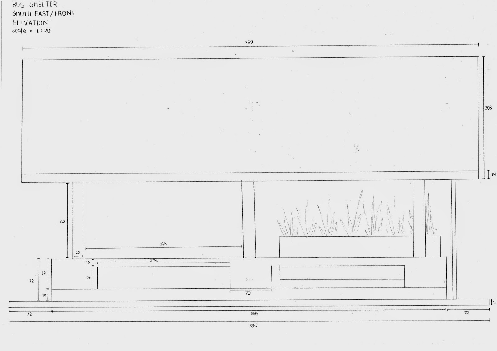 Plan Elevation Section Of Bus Stop : Bella s