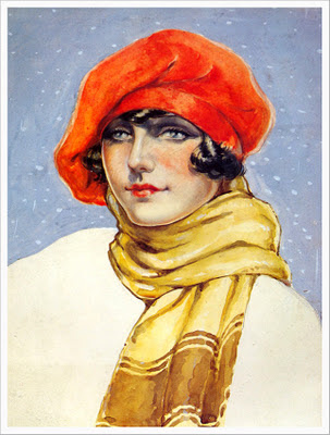 ilustracion vintage chica de la Belle Epoque