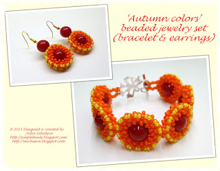 'Autumn colors' beaded bracelet and earrings