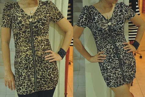 Zipper blouse leopard