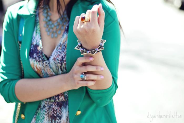 go jane green blazer, rebecca minkoff mac bag, jewelmint bracelet and rings, lulu's printed maxi dress, austin street style, austin fashion blog