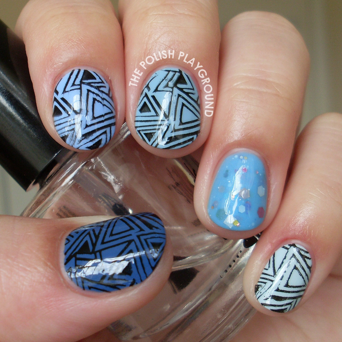 Geometric Blue Ombre Stamping Nail Art