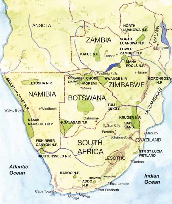 Botswana South Africa Map.Southern Africa Map Pictures