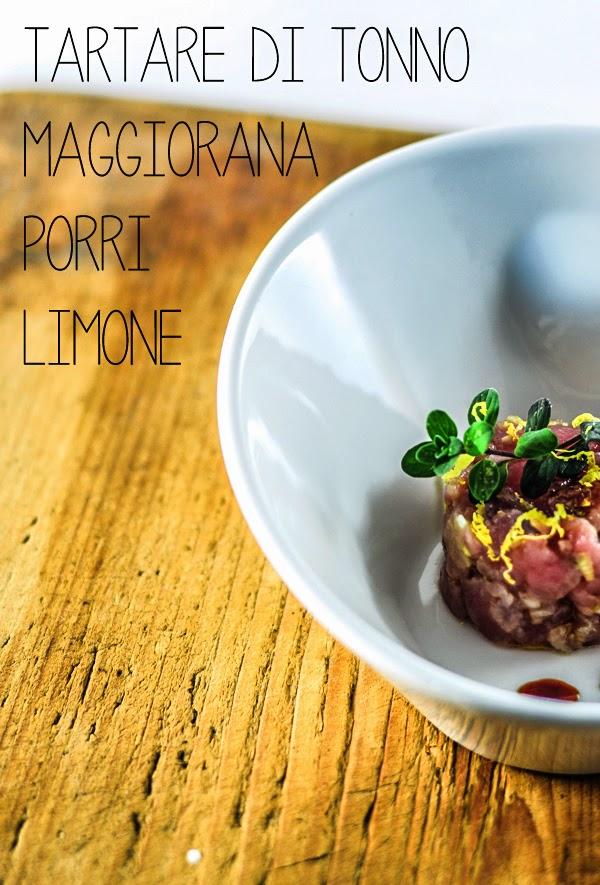 tartare di tonno con porri, maggiorana e limone in omaggio a bello&buono / tuna tartare with leeks marjoram and lemon