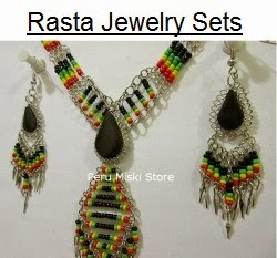 Rasta Sets with Semiprecious stones and Alpaca Silver, Necklaces and matching earrings