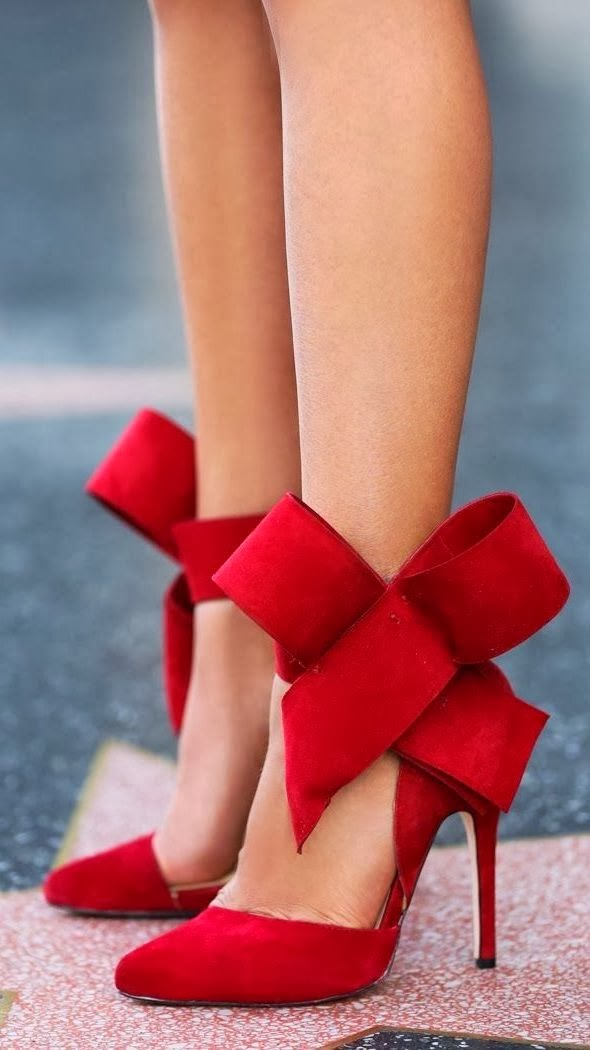 Stylish red high heels with ribbon