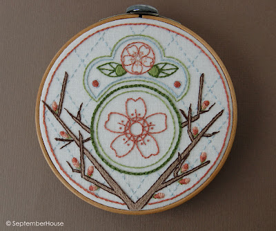 cherry blossom embroidery pattern, japanese hand embroidery patterns by SeptemberHouse