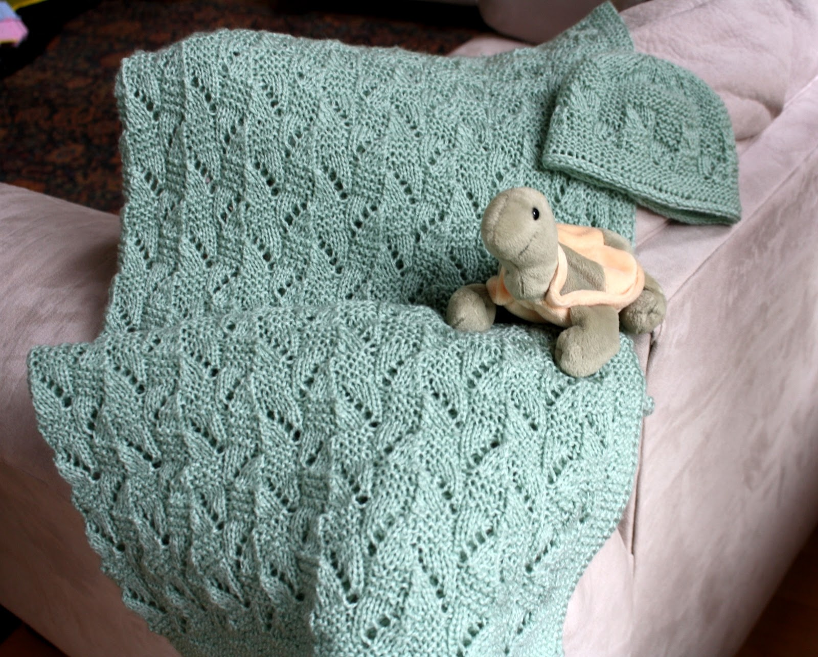 Knitting Patterns Using Baby Yarn : All Knitted Lace: New Pattern: Amy Baby Blanket and Hat