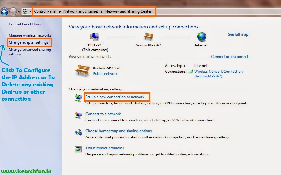 How to Set up Broadband Connection in Windows 7 and How to Delete existing internet connections in Windows