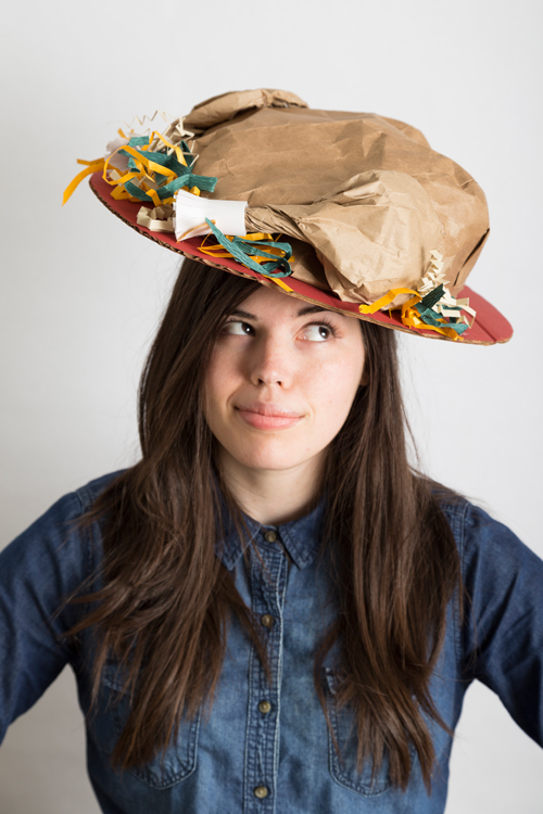 Start a new tradition of making hats for each other to wear on Thanksgiving like this turkey hat.