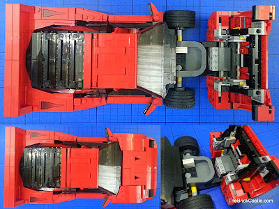 LEGO Ferrari F40 set 10248 overhead under bonnet