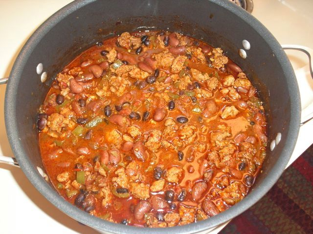two bean chili with spicy chicken sausage to serve divide the chili