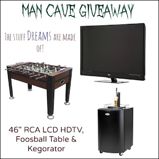 "Enter to win a 46"" TV, Foosball Table, Kegorator in the Man Cave Giveaway. Ends 7/5"