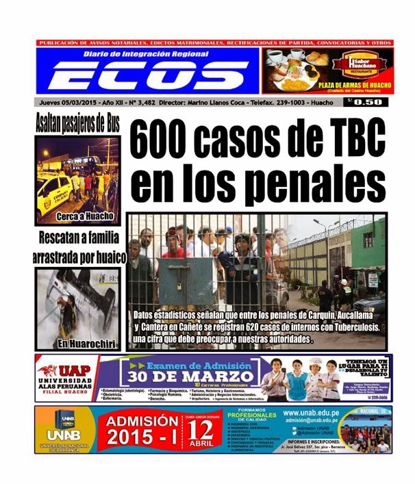 Esta es la edición de Diario ECOS jueves 05 de marzo del 2015