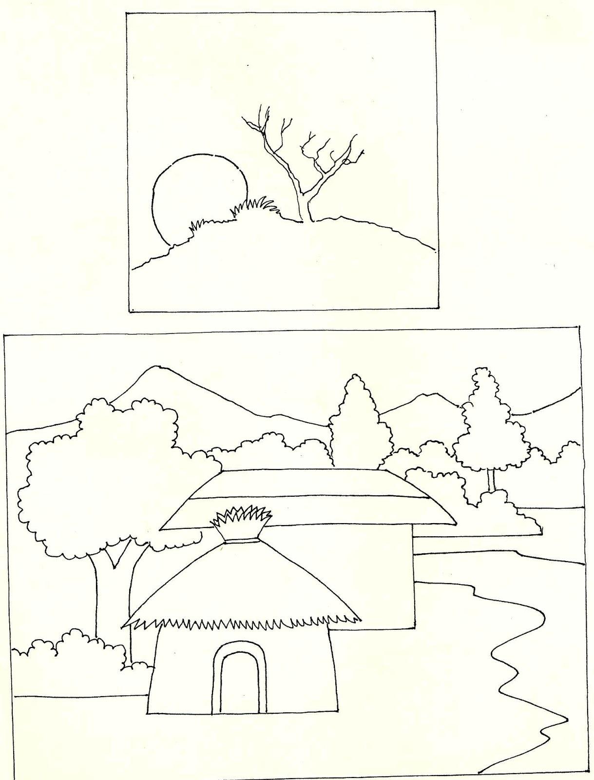 Studentsdrawing animal step by step easy outline drawing for Easy landscape drawings step by step