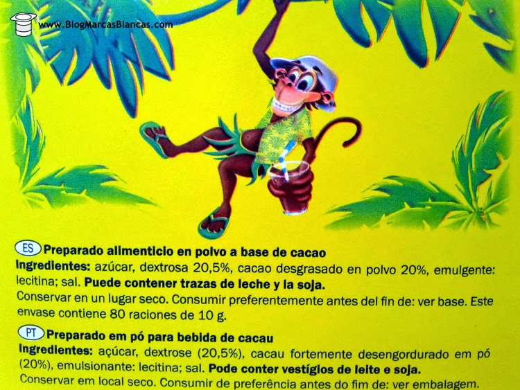 Ingredientes del cacao soluble Goody Cao de Lidl.