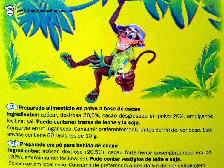 Ingredientes del cacao soluble Goody Cao de Lidl.