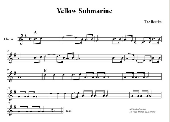 http://mariajesuscamino.cantabriamusical.com/partituras_beatles/partitura_yellow_submarine.html