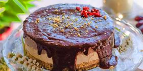 Tarta vegana de chocolate y vainilla