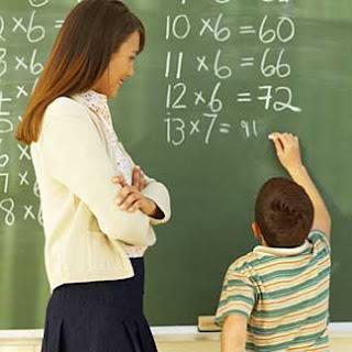A teacher in the classroom.