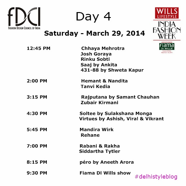 Wills Lifestyle India Fashion Week AW 14 Day 4 Schedule