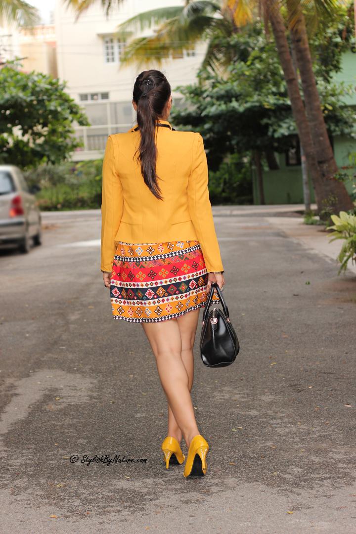 Aztec print Dress, Mustard Blazer, Slim fit Blazer, Mustard Heels