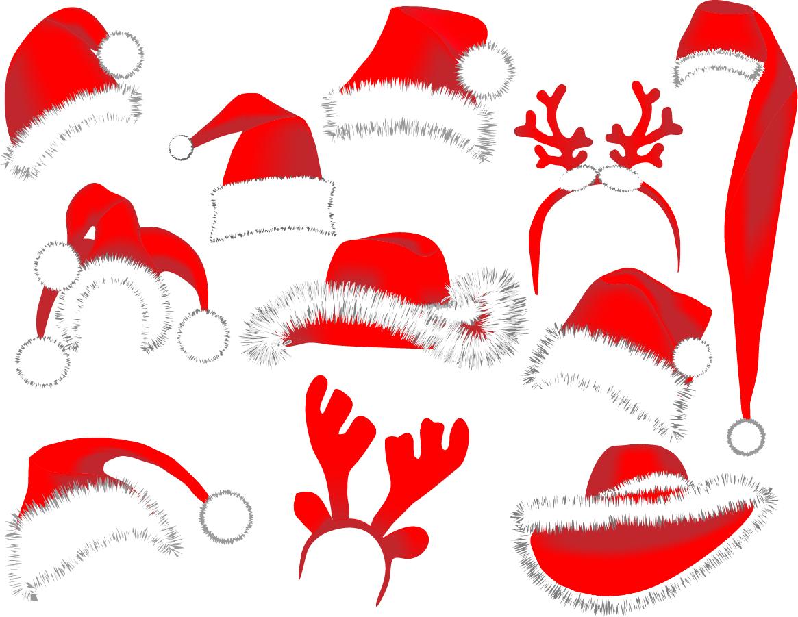 Free vector がらくた素材庫 サンタクロースの帽子とトナカイのツノ型見本 christmas hats