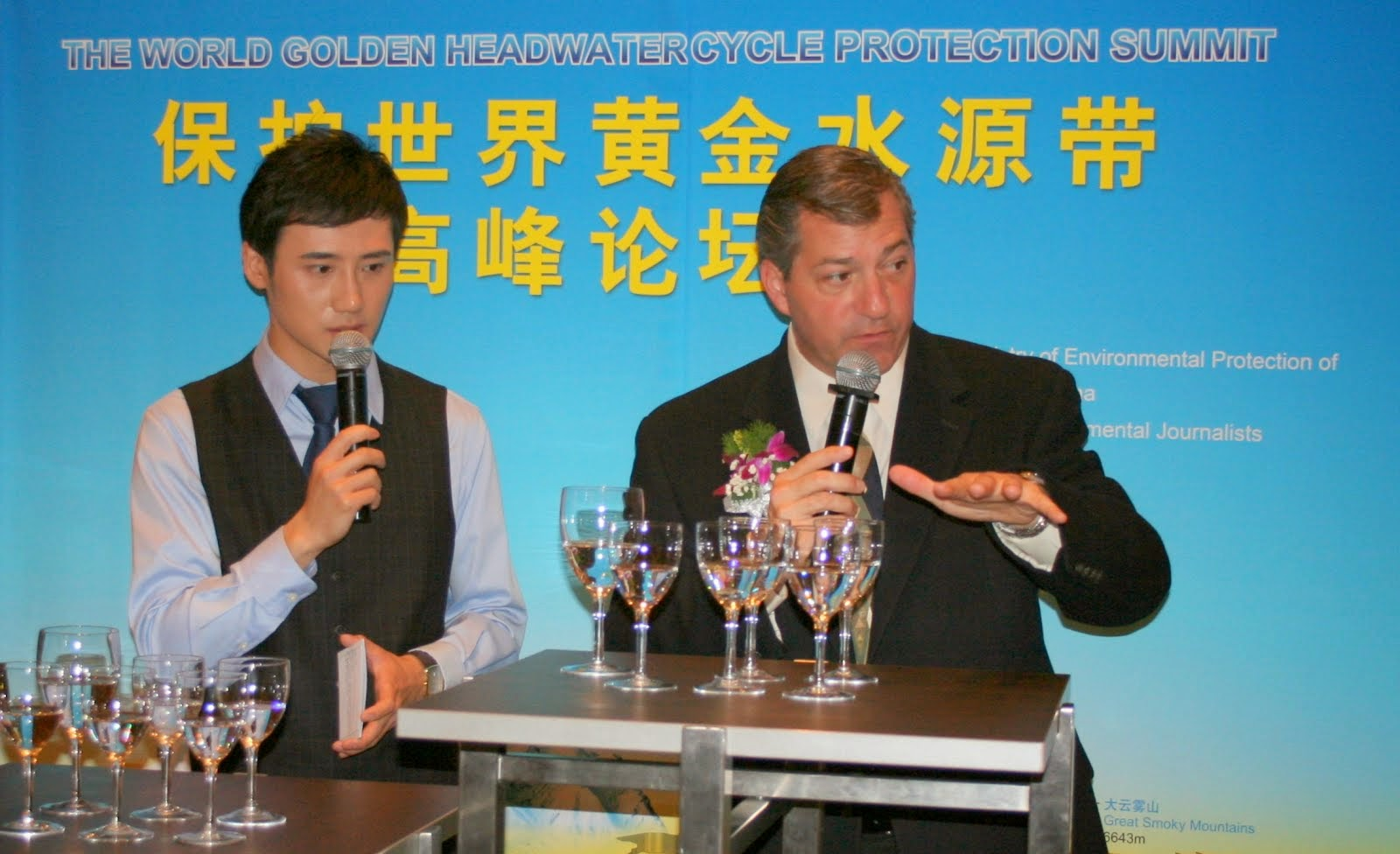 Conducting a water tasting in Beijing