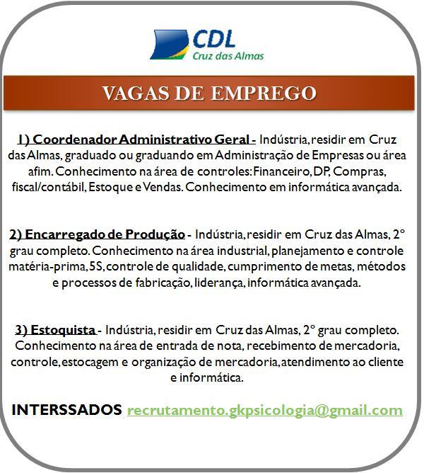 CDL vagas de emprego