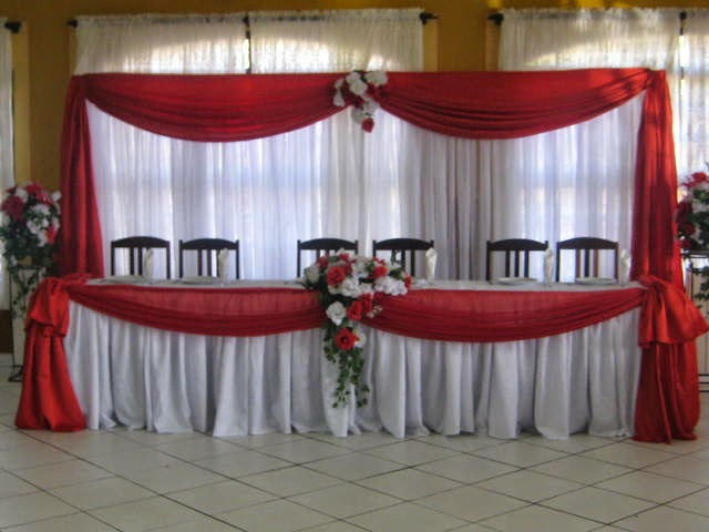 Para noivas Decoraç u00e3o de casamento vermelho e branco -> Decoração De Casamento Simples Com Tnt Vermelho E Branco
