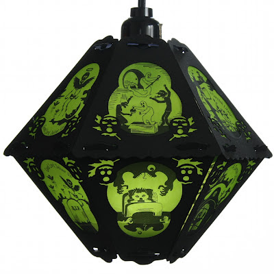 Vintage style paper lantern featuring The Cornish Litany of Ghoulies and Ghosties by Bindlegrim