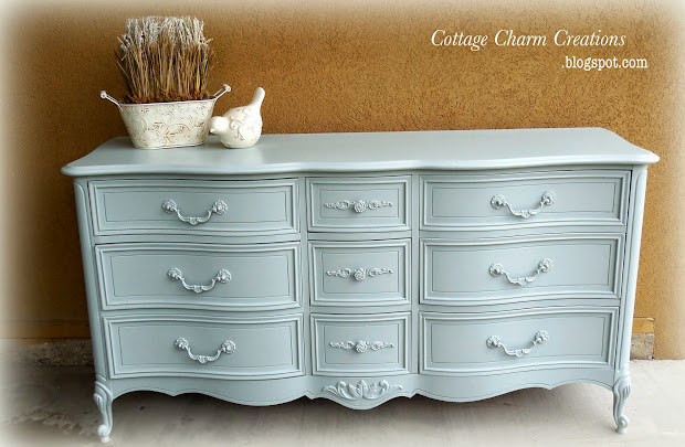 French Country Antique White Dresser