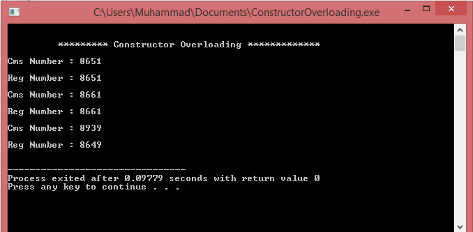 constructor overloading in c++