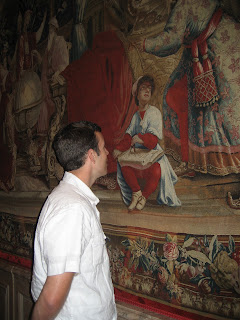 josh admiring a tapestry at the getty