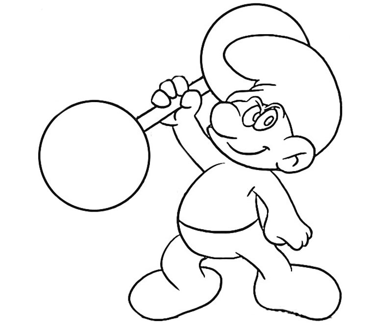 #4 Hefty Smurf Coloring Page