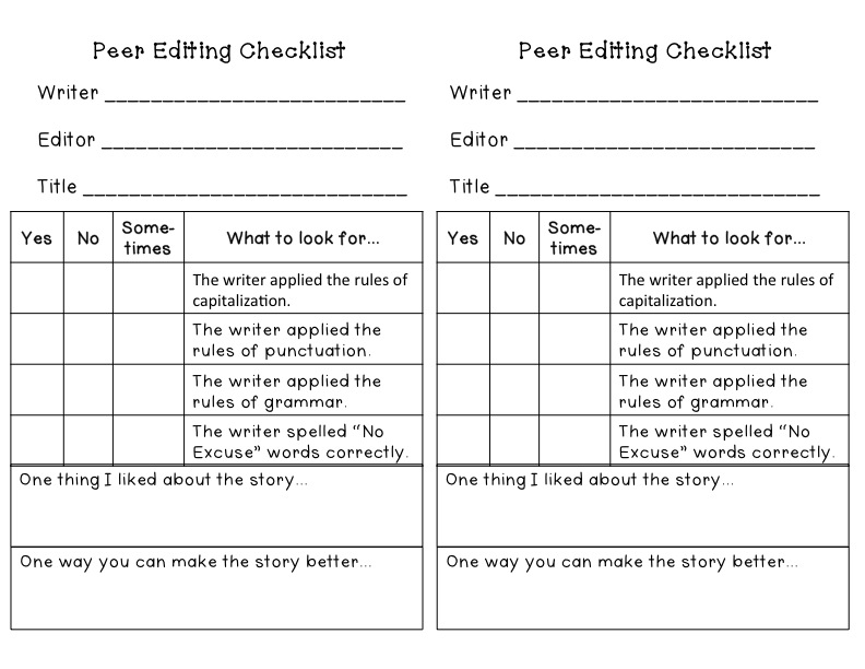 peer editing checklist for compare/contrast essay Compare/contrast peer editing worksheet editors respond to a series of yes/no questions about the writing of a peer while the prompts do direct the editor's attention to key elements of the paper, they do not ask for specific details, comments, or suggestions that would prove beneficial to the writer.