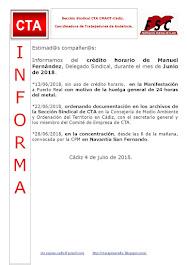 C.T.A. INFORMA CRÉDITO HORARIO MANUEL FERNANDEZ, JUNIO 2018
