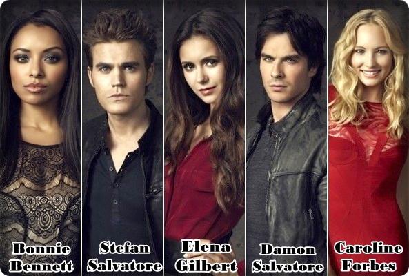 the vampire diaries, rapunzelin kulesinden, bonnie bennett, stefan salvatore, elena gilbert, damon salvatore, caroline forbes