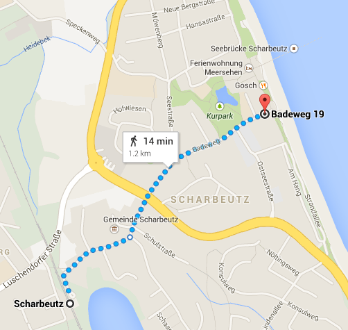 How to get from Scharbeutz HBF to the Public beach