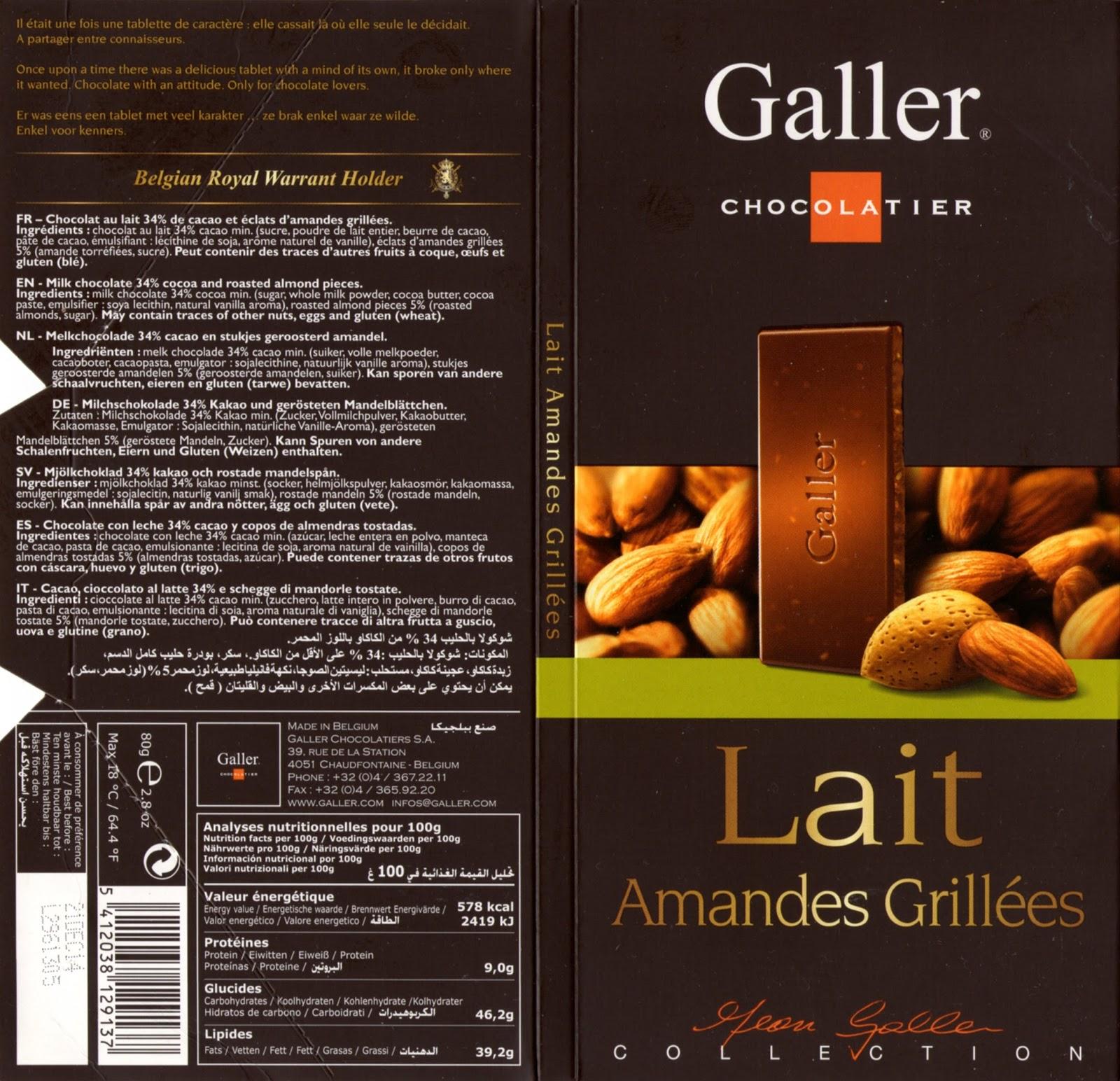tablette de chocolat lait gourmand galler lait amandes grillées