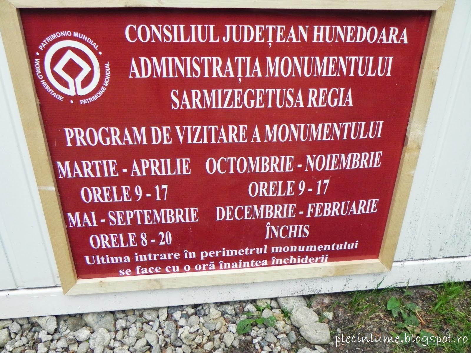 Program de vizitare Sarmizegetusa Regia
