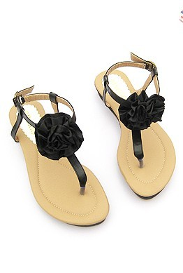 20157 Women Black Flower Decorated Pu Leather Flat Sandals Shoes 1 - Black flat sandals