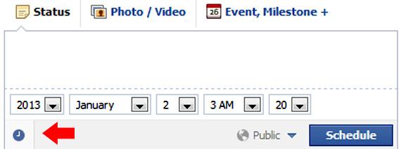 Pentru a alege ziua si ora la care sa fie publicata postarea, aasati icoana ceas