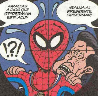 spiderman salvando la cara a reagan